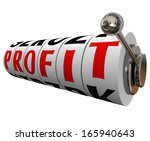 profit word slot machine wheels ... | Shutterstock . vector #165940643