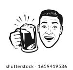 happy man with beer in his hand.... | Shutterstock .eps vector #1659419536