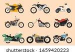 Set Of Motorcycle Or Motorbike...