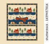 red canoe  lodge  lake  fish ... | Shutterstock .eps vector #1659457816