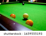 green billiard table with balls.... | Shutterstock . vector #1659555193