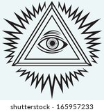 all seeing eye isolated on blue ... | Shutterstock . vector #165957233