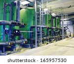 water treatment tanks at power... | Shutterstock . vector #165957530