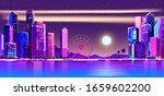 evening city at sunset. flat... | Shutterstock .eps vector #1659602200