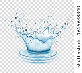 blue water splash and drops... | Shutterstock .eps vector #1659648340