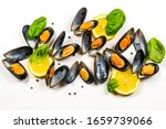 Seafood  Mussels Isolated On...