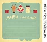 retro merry christmas card with ... | Shutterstock .eps vector #165975110