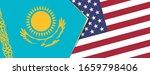 Kazakhstan And Usa Flags  Two...