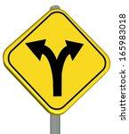 yellow sign crossroad change  ... | Shutterstock . vector #165983018