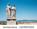 Small photo of Veszprem, Hungary - June 28, 2019 : Statue of King Stephen I. and Queen Gisela on Castle Hill