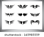 wings collection  set of wings .... | Shutterstock .eps vector #165985559