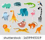cute cartoon animals stickers....   Shutterstock .eps vector #1659945319