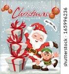 vintage christmas poster design | Shutterstock .eps vector #165996236