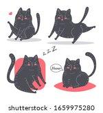 set of funny cartoon black cats....   Shutterstock .eps vector #1659975280