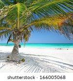 beautiful white sand beach with ... | Shutterstock . vector #166005068