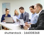business  technology and office ... | Shutterstock . vector #166008368