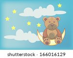 teddy bear siting on moon | Shutterstock .eps vector #166016129