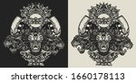three angry black panthers.... | Shutterstock .eps vector #1660178113