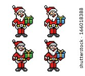 santa claus 8-bit pixel art style collection vector illustration - stock vector