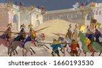 medieval battle scene. riders ... | Shutterstock .eps vector #1660193530