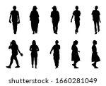 people silhouette walking on... | Shutterstock .eps vector #1660281049