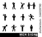 men sign over white background... | Shutterstock .eps vector #166028780