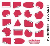 red blank sticky paper set... | Shutterstock . vector #166032164