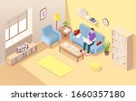 Isometric Living Room With Man...