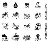 water pollution flat icons set... | Shutterstock .eps vector #1660360399