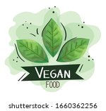 vegan food poster with leafs...   Shutterstock .eps vector #1660362256