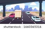 cartoon highway traffic. road... | Shutterstock .eps vector #1660365316