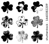 set of clover leaf in grunge... | Shutterstock .eps vector #1660382209