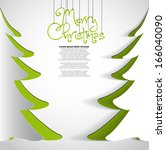 merry christmas paper tree... | Shutterstock .eps vector #166040090