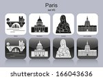landmarks of paris. set of... | Shutterstock .eps vector #166043636