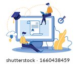 tiny people at huge pc monitor... | Shutterstock .eps vector #1660438459