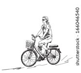 sketch of woman on bicycle... | Shutterstock .eps vector #166046540