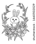 cute easter bunny in flowers... | Shutterstock .eps vector #1660502029