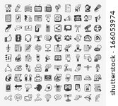 doodle communication icons set | Shutterstock .eps vector #166053974