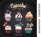 vintage cupcake collection.... | Shutterstock .eps vector #166061624