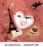 vintage valentine's day... | Shutterstock .eps vector #166065728