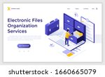 Landing page template with man standing on laptop computer and opening drawer of storage cabinet full of documents. Concept of electronic file organization service. Isometric vector illustration.