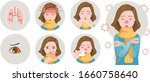 covid 19 symptom set. corona... | Shutterstock .eps vector #1660758640