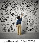 concept of small genius with... | Shutterstock . vector #166076264