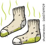 dirty sock. the bad stench.... | Shutterstock .eps vector #1660769929
