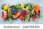Healthy food selection on gray...
