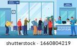 queue to the doctor. waiting... | Shutterstock .eps vector #1660804219