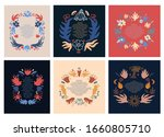 collection of colorful floral... | Shutterstock .eps vector #1660805710