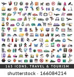 165 colors icons. travel and... | Shutterstock .eps vector #166084214