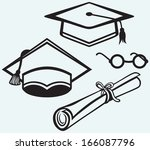 student accessories. graduation ... | Shutterstock . vector #166087796