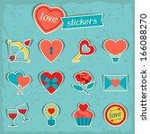 set of valentine's and wedding... | Shutterstock .eps vector #166088270